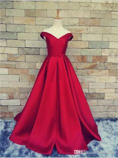 Cheap gown evening dress, Buy Quality dress pants elastic waist directly from China gown bag Suppliers: Simple Design Red Prom Dresses 2016 Off Shoulder Lovely Bow Long A-line Satin Party Gowns vestidos de formatura Custom Made Prom Dresses 2016, A Line Prom Dresses, Cheap Prom Dresses, Dresses For Teens, Ball Dresses, Ball Gowns, Formal Dresses, Dress Prom, Dress Long