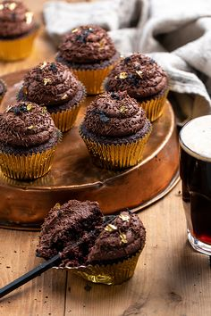 Happy International Beer Day! Recipe link for these delicious stout chocolate cupcakes is in our bio. You're welcome! 😋🙌 . . #Dollarsweets #internationalbeerday #chocolatecupcakes #goldleaf International Beer Day, Recipe Link, Chocolate Cupcakes, Confectionery, Cake Decorating, Easy Meals, Sweets, Breakfast, Happy