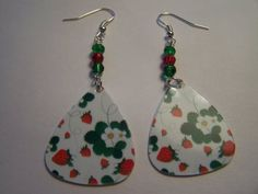 Strawberry - Guitar Pick Earrings. £5.00, via Etsy.