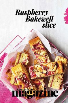 Make the most of summer raspberries with this twist on a classic bake - follow our tip to make it gluten free Tray Bake Recipes, Uk Recipes, Sweet Recipes, Baking Recipes, Dessert Recipes, Recipies, Desserts, Bakewell Tart, Dessert Spoons
