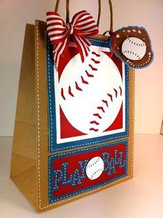 play ball gift bag using Cricut Sports Mania cartridge Baseball Birthday, Baseball Party, Baseball Mom, Baseball Season, Softball, Baseball Bags, Baseball Cupcakes, Rangers Baseball, Sports Party
