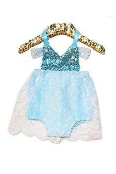 #BelleThreadsPinterest Queen Elsa Sparkle Romper made with Parisian fabrics READY TO SHIP