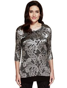 Per Una Floral Textured Tunic - Marks & Spencer