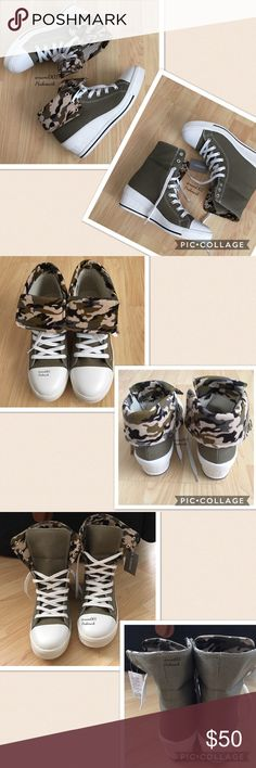 """Camouflage High Ankle Top Wedge Sneakers 2 Ways These adorable camouflage sneakers from Tokyo Japan's high fashion district is trending right now. Wear it two ways. Fold it over to show the camouflage and wear it as ankle sneakers or unfold and wear it as a high top. Wear with skinny jeans or a mini skirt and make a fashion statement. Size is LL (Japan size) which is about a 7.5"""" - 8"""". It will stretch. I wear a 7 & these are a tad big even with thick socks. Measured inside from heel to toe…"""