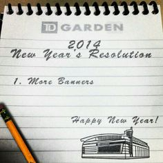 The 2014 New Year's Resolution For The Td Garden, Boston Bruins, Hockey, Banner, Banner Stands, Field Hockey, Banners, Ice Hockey