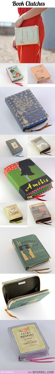 Clutches Made From Book Covers...cool way to re-purpose weeded books! <3 @Lindsey Grande Grande Grande Grande Borgna
