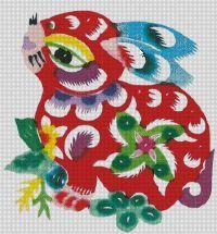 Free Cross Stitch Patterns: Chinese Zodiac Rabbit