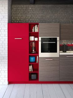 Design Ideas for Modular Kitchen With Red And Wooden Cabinets