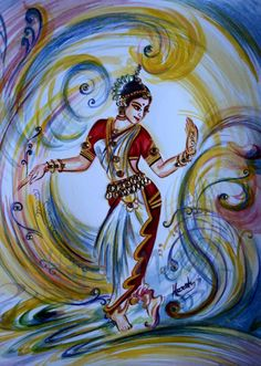 Dancing Painting Indian Classical Dance by sadashivarts on Etsy
