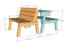 Free, easy, step by step plans to build a picnic table that converts easily to two separate benches. The tabletops rotate to form bench backs. Detailed plans give you step by step instruction to build this multi-use outdoor staple for your deck or patio. Build A Picnic Table, Folding Picnic Table, Picnic Tables, Patio Tables, Folding Desk, Patio Bench, Garden Benches, Woodworking Bench, Woodworking Projects