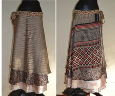 3 Layers Long Wrap skirt India Sari Hippie Gypsy  by Beeskirt, ฿1200.00
