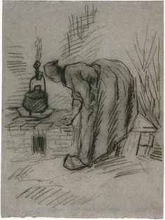 Woman by a Hearth by Vincent Van Gogh - 1732 - Drawing