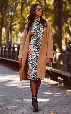 Dress, coat, and ankle boots for fall.