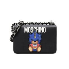 Moschino Transformers Bear Womens Leather Shoulder Bag Black