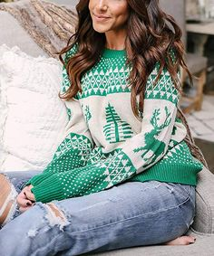 bdb4d626bcdc5 Yidarton Women 's Christmas Ugly Pullover Sweaters Holiday Patterns  Reindeer Tree Crew-Neck Knit