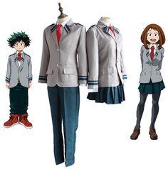 Anime Boku no Hero Academia Midoriya Izuku Bakugou Katsuki Gray My Hero Academia OCHACO URARAKA School Uniform Cosplay Costumes //Price: $50.29 & FREE Shipping //     #animes #otakugirl #naruto