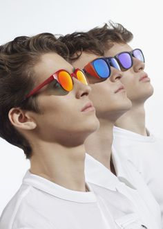 On farthest left: red rimmed sunglasses by Emporio #Armani