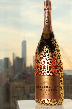 For A BIG Happy New Year Celebration! Over-The-Top Extravagance: Exclusive Limited Edition (60 bottles) of Moët's  Gold-Leaf -Decorated Leopard Methuselah Of Rosé Champagne - $6200 each.  story via If It's Hip, It's Here