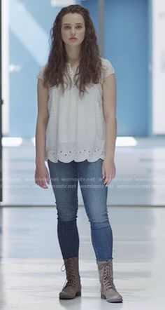 Hannah's white eyelet top and lace-up boots on 13 Reasons Why. Outfit Details: https://wornontv.net/69378/ #13ReasonsWhy