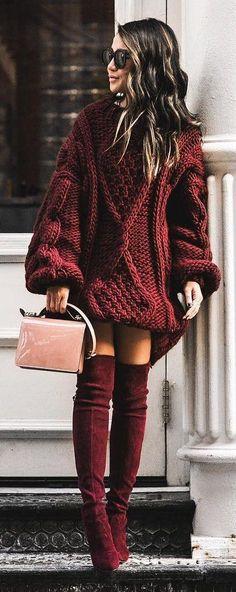 #winter #fashion / Red Knit Dress / Burgundy Velvet OTK Boots / Pink Shoulder Bag