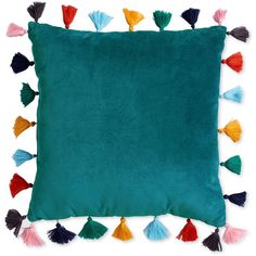 """Scribble Velvet 16"""" Square Decorative Pillow with Tassels (183.520 COP) ❤ liked on Polyvore featuring home, home decor, throw pillows, teal, tassel throw pillow, teal home accessories, teal throw pillows, velvet throw pillows and square throw pillows"""