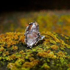 """Size 6.75 Sterling Silver Rutilated Quartz Ring """"Vesta"""" READY TO SHIP one of a kind ring, Venus Hairstone ring, partial gold plating ring by BlackTreeLab on Etsy"""
