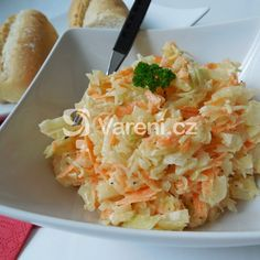 Pravý salát Coleslaw recept - Vareni.cz Coleslaw, Cauliflower, Macaroni And Cheese, Cabbage, Low Carb, Menu, Vegetables, Ethnic Recipes