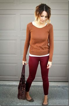 {autumn tones} burnt orange sweater + wine skinnies + leopard flats