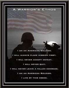 The Warrior Ethos I know that Marines are not soldiers but this seemed to transcend the individual branches. Marsoc Marines, Military Salute, Navy Sailor, Army Mom, Prisoners Of War, Army Soldier, Real Hero, American Soldiers, New Chapter