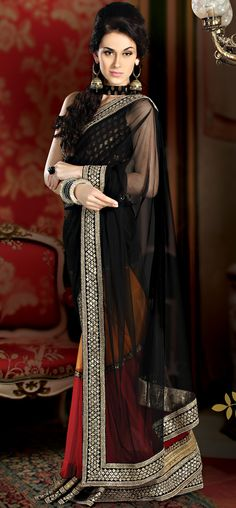 Multi Color Fully Net With Heavy Border Designer Saree  ||    ITEM CODE:- SAPG03  ||  PRICE :-  19,055/- INR ||   Style: Designer Saree occasion: Wedding, Reception fabric: Net color: Black Catalog No.: 1144 work: Embroidered
