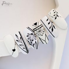 Beautiful Nail Designs, Cute Nail Designs, Cute Nails, Pretty Nails, Hair And Nails, My Nails, Geometric Nail, Nail Art Videos, Nail Patterns