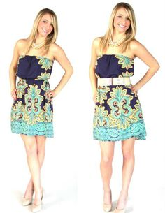 Navy and mint strapless dress