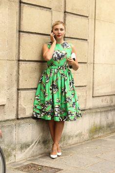 #NasibaAdilova #dress #JonathanSaunders #green dress #mode #moda #women #paris #look #streetstyle #streetview #street #style #offcatwalk on #sophiemhabille