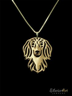 Long haired Dachshund jewelry - gold vermeil (18k gold plated sterling silver) pendant and necklace. $120.00, via Etsy.