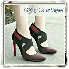 "GX by Gwen Stefani Aime booties in brown/black/red Colorblocked pointed toe shoes with sporty vibe. Black island platform with fuzzy finishing. Faux leather. Back zipper clouser. Great fit because of elastic crisscross straps.  Details: heel 4-3/4"", platform 1/2"", fits narrow, so feels up to 1/2 size small, fits my narrow feet TTS, faux leather.  Please use only ✔OFFER  button for all price negotiations. I'll do a price drop⤵ for you for discounted shipping, if we agree about the price. GX…"