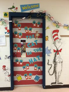 Classroom bulletin boards, classroom door, preschool classroom, classroom t Classroom Decor Themes, Classroom Setting, Classroom Door, Preschool Classroom, Classroom Organization, Kindergarten, Door Displays, School Displays, Dr Seuss Week