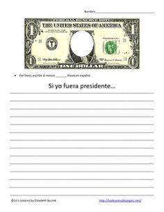 El Dia de los Presidents-Spanish Conditional/ Subjunctive Tense Writing