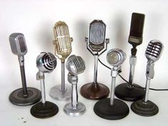 8 vintage Art Deco styled microphones circa 1920's-1950's