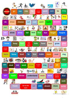 Board game irregular verbs