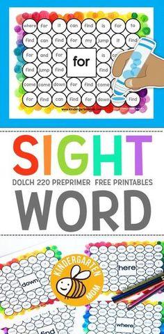 Free Sight Word Printables: Dab n' Dot - Kindergarten Mom