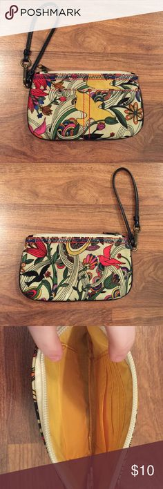 Birds & Flower Wristlet Have not used in a while - it is a wristlet with a very cute pattern. Similar to a Sakroots pattern - tagged brand for exposure Anthropologie Bags Clutches & Wristlets