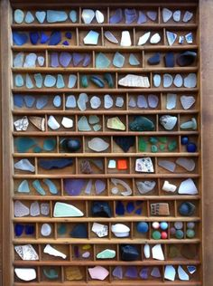 Letterpress tray sea glass specimen (what a great idea) I would love to have this to display my prettiest pcs. #seaglassart #StainedGlassSea