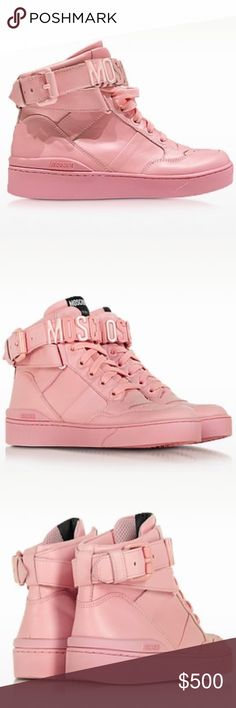 """MOSCHINO Pink Leather High Top Sneaker size 10 Pink Leather High Top Sneaker crafted in natural calfskin has an urban street style with a feminine twist and goes great with skinnies for an everyday casual look. Featuring lace-up design, signature detail on ankle strap and buckle closure, leather upper, round toe, signature tab on tongue, leather lining and rubber sole. Signature box and dust bag included.  MaterialGenuine Leather ColorPink Heel Height1.38"""" 