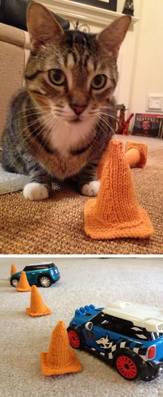 Free Knitting Pattern for Easy Traffic Cones - These traffic cone softies are a great use for scrap yarn – especially orange – and can be used as human or cat toys. Designed by Sarah Jenkins. Pictured projects by Csorrels805 and MrsZoom. Rated easy by Ravelrers.