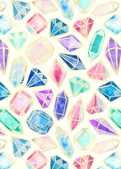 Watercolor Gems (*Used as a Phone Wallpaper) by Tangerine-Tane ♡♥♡♥♡♥ #wallpapers #art #illustration