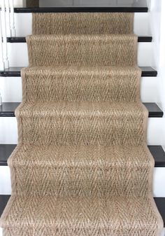 sisal stair runner on basement stairs Staircase Runner, Stairs With Carpet Runner, House Staircase, How To Carpet Stairs, Carpet Treads For Stairs, Runners For Stairs, Staircase Banister Ideas, Sisal Stair Runner, Entryway Runner