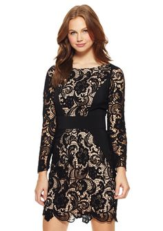 JESSICA SIMPSON Black Long Sleeve Lace Dress