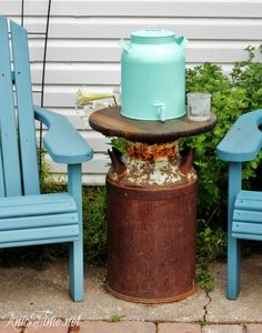 An Old Milk Can and a Drink Dispenser via Knick of Time at KnickofTime.net