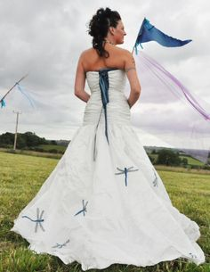 Wedding Dress with Blue Dragonflies. Dragonflies are the theme of my book, and I play many weddings with my trio! A perfect photo for me! www.BlueDragonflies.net and www.thebaroquetrio.com
