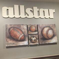 Vintage sports themed nursery wall decor!